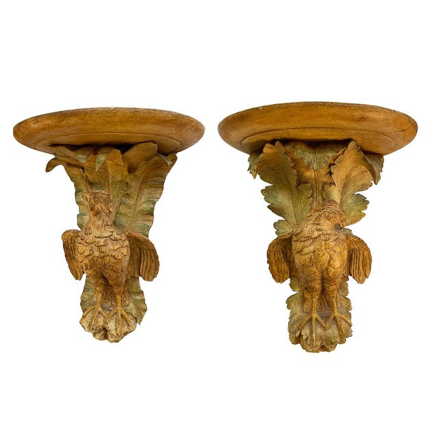 French Polychromed Carved Brackets With Quail - a Pair For Sale In Dallas - Image 6 of 8