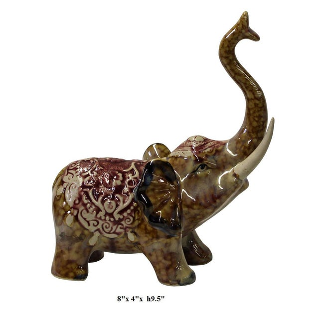 Brown Ceramic Elephant Figure For Sale In San Francisco - Image 6 of 6