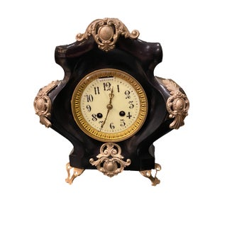 19th Century French Black Gilded Clock For Sale