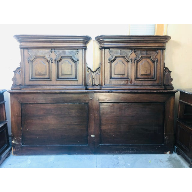 Carved antique head board and night stands with marble tops. This was sold to my father Robert Altman when he bought his...