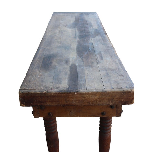 Metal Antique Farm Table For Sale - Image 7 of 8