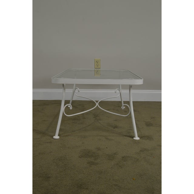 Glass Woodard for Crown Leisure White Wrought Iron Glass Top Patio Coffee Table For Sale - Image 7 of 13