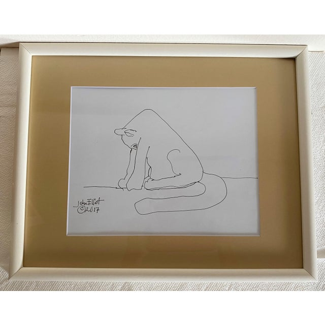 """Vintage Drawing """"My Cat Stretching in the Morning"""" With Coa by Listed Artist John Elliot, Opa For Sale - Image 4 of 12"""
