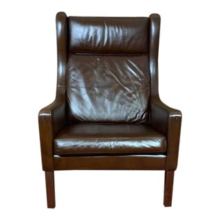 Vintage Borge Mogensen Mid Century Danish Modern Tobacco Brown Leather High Back Lounge Chair For Sale