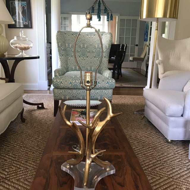 Mid-Century Modern Brass Antler Lamp For Sale - Image 4 of 12