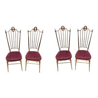 1960s Italian Chiavari Brass and Purple Velvet Chairs - Set of 4 For Sale