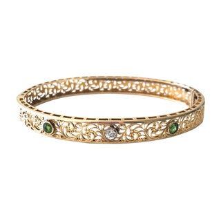 Edwardian Gold Diamond Tzavorite Garnet Bangle Bracelet For Sale