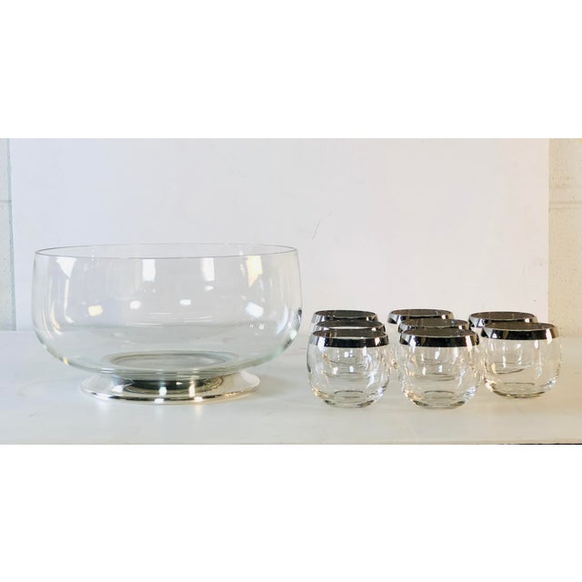 1960s Punch Bowl Set With Silver Rim Tumblers, Set of 9 For Sale - Image 9 of 9
