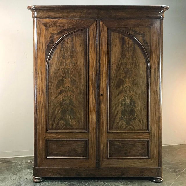 Mid 19th Century 19th Century French Louis Philippe Period Burl Mahogany Armoire For Sale - Image 5 of 12