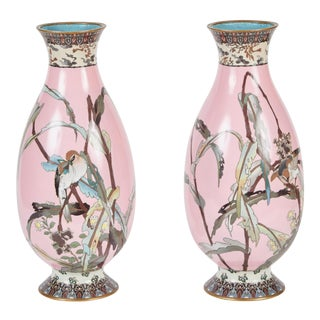 Rare Pair of Japanese Late 19th Century Pink Cloisonné Vases For Sale