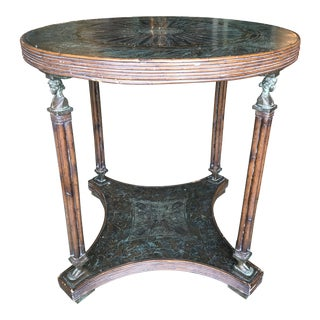 Hollywood Regency Maitland-Smith Figural Etched Bronze and Rattan Center Table For Sale
