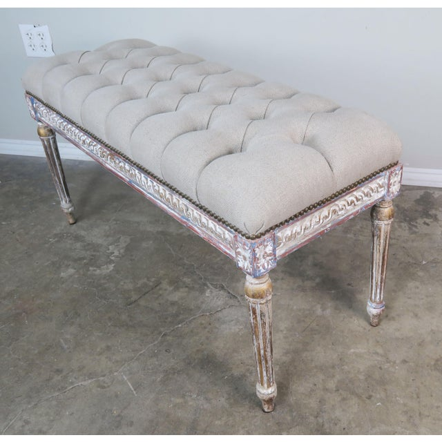 French Louis XVI Style Painted Bench C. 1930 For Sale - Image 4 of 13