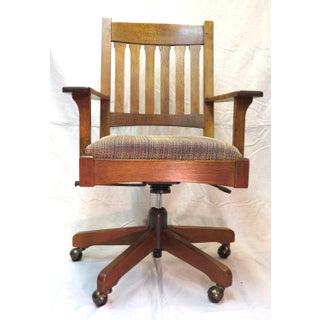 1990s Vintage Stickley Oak Swivel Office Chair Preview