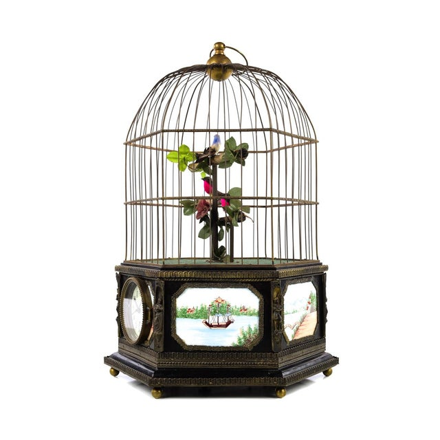 Metal Antique Animated Bird Cage Music Box With Clock For Sale - Image 7 of 10