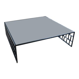 Modern Metal Framed Glass Topped Coffee Table