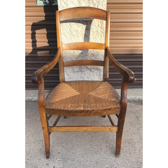 French Mid 19th Century French Walnut Rush Seat Armchair For Sale - Image 3 of 13