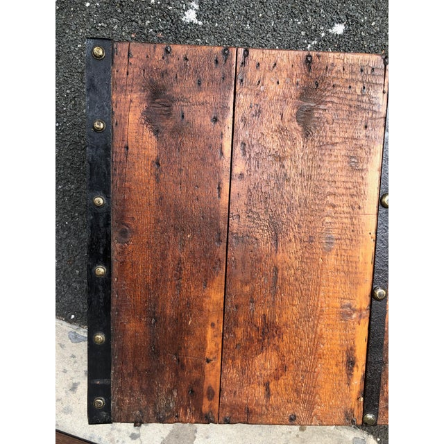 19th Century American Classical Wood and Iron Travel Trunk For Sale - Image 9 of 11