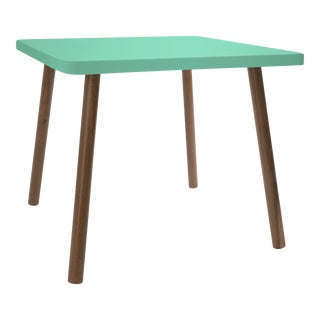 """Tippy Toe Small Square 23.5"""" Kids Table in Walnut With Mint Finish Accent For Sale"""