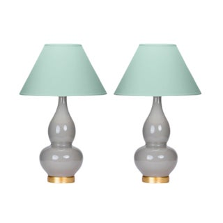 Casa Cosima Double Gourd Table Lamp, Dove Craquelure/Palladian Blue Shade - a Pair For Sale