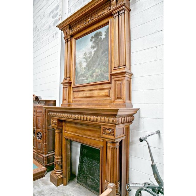 Monumental French Renaissance Revival Walnut Fireplace with Trumeau Overmantel For Sale - Image 10 of 11