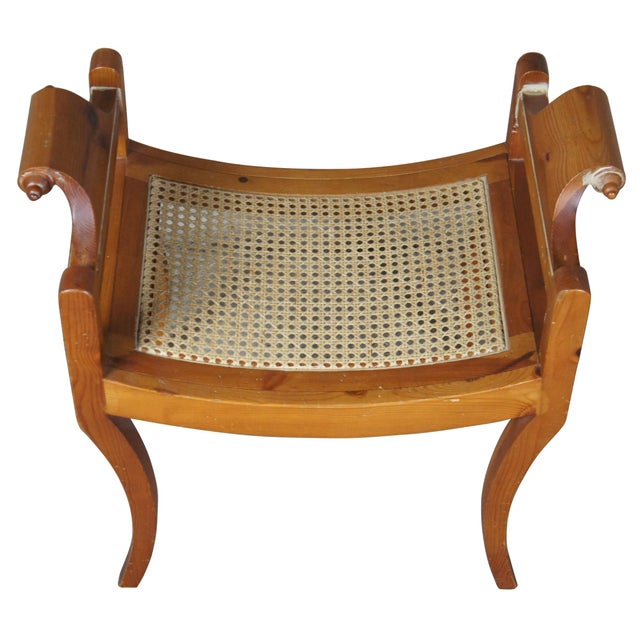 French Country French Country Pine Foot Stool Scrolled Arms Spain Vanity Caned Seat Bench For Sale - Image 3 of 10
