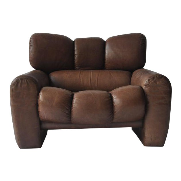 Large Scale 1970s Leather Lounge Chair For Sale