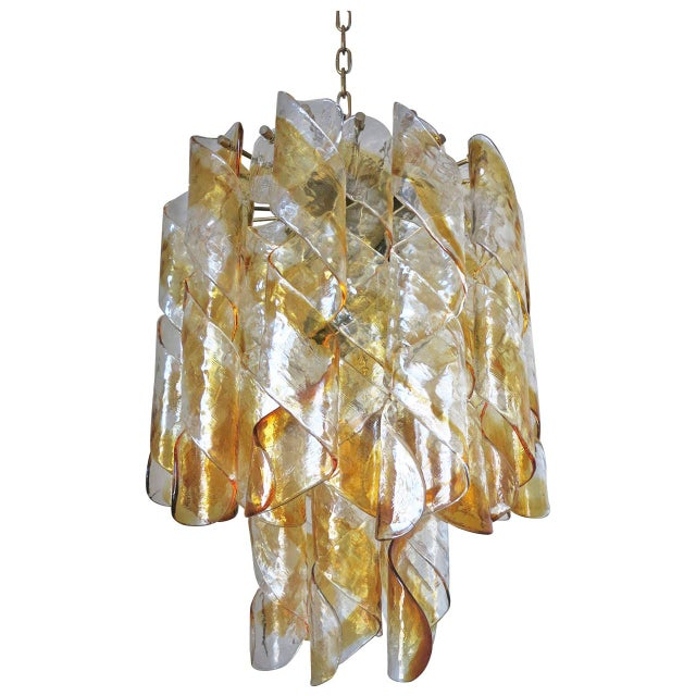 Amber and Clear Twist Murano Chandelier by Mazzega For Sale In Palm Springs - Image 6 of 6