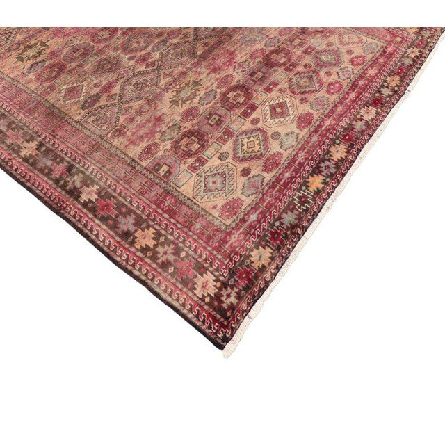 Vintage pink Persian Baluch rug with modern tribal style. Features all-over geometric and tribal motifs in an abrash field...