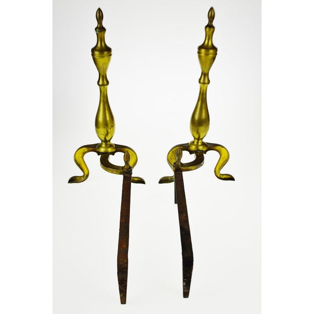 Early 20th Century Vintage Logan Co. Federal Style Brass Fireplace Andirons - a Pair For Sale - Image 5 of 13