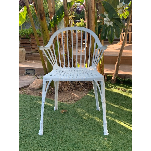 Traditional 20th Renaissance Revival Style Cast Iron White Garden Chairs in Faux Bamboo - a Pair For Sale - Image 3 of 11