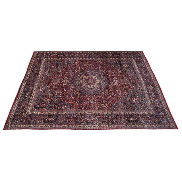 Blue Antique Persian Mashad Rug with Art Nouveau Style For Sale - Image 8 of 9
