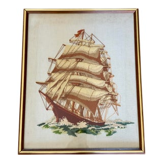 Mid Century Embroidered Sailboat Ship Wall Art For Sale