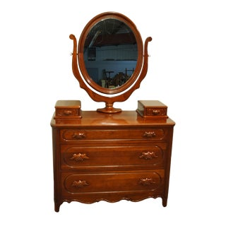 """Davis Cabinet Lillian Russell Collectors Cherry 47"""" Dresser and Mirror W. Glove Boxes 2327 2329 For Sale"""