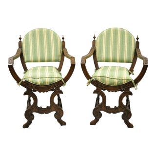 Antique Italian Renaissance Carved Walnut Savonarola Throne Arm Chairs - a Pair For Sale