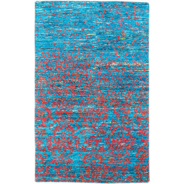 "Hand-Knotted Sari Silk Indian Rug - 4'11"" X 7'10"" - Image 1 of 2"