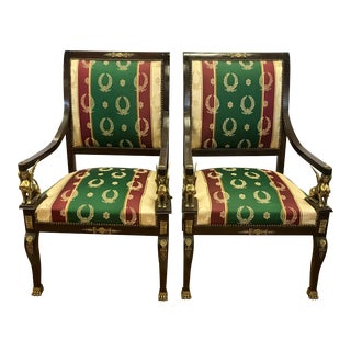 1960s Vintage Mahogany and Bronze Figural Egyptian Revival Chairs- A Pair For Sale