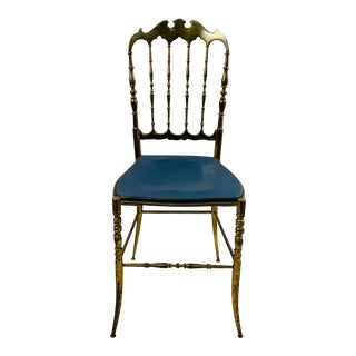Vintage Solid Blue Leather Upholstered Brass Chiavari Chair For Sale