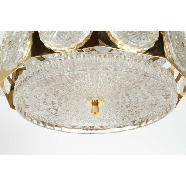Brass Orrefors Brass & Glass Ceiling Light Fixture For Sale In Los Angeles - Image 6 of 9