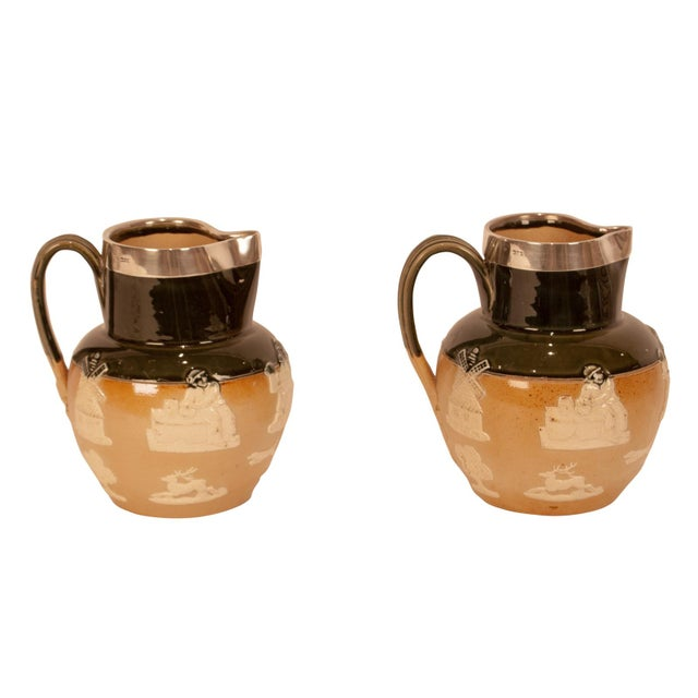 Metal Pair of Royal Doulton Pitchers, England Circa 1900 For Sale - Image 7 of 7