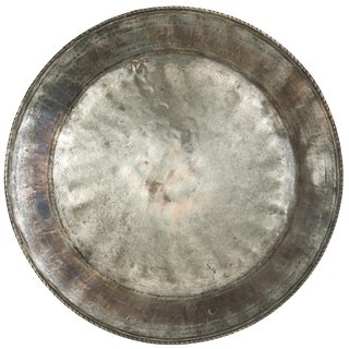 Antique Hand-Hammered Solid Copper Tray With Tin Overlay For Sale