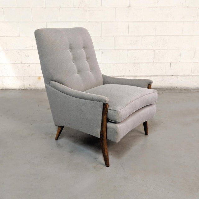 Restored Kroehler Mid-Century Modern Gray Wool Walnut Lounge Chairs - a Pair For Sale In Chicago - Image 6 of 13
