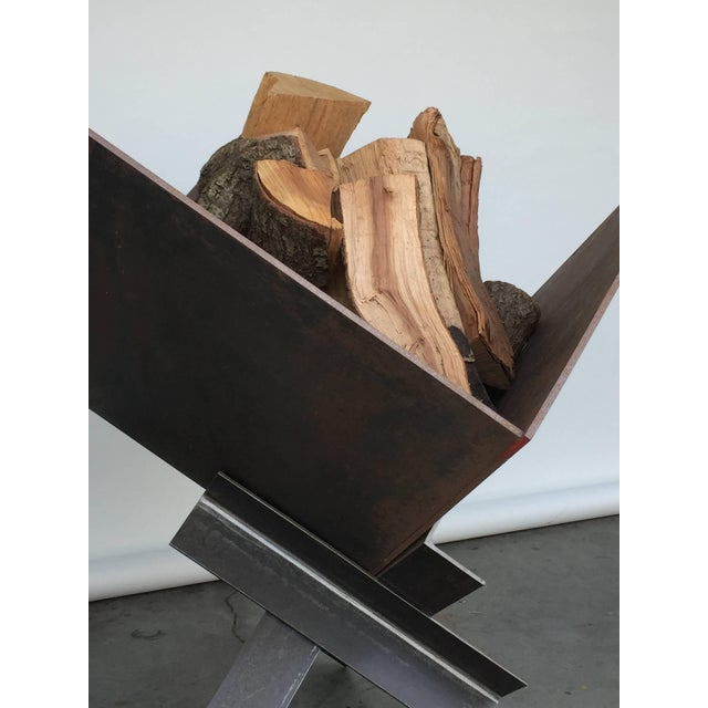 Late 20th Century Large Patinated Steel Plate Brutalist Fire Pit or Log Holder For Sale - Image 4 of 7