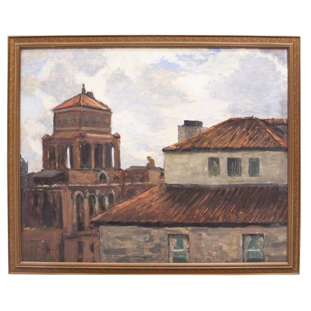 Italian Painting of Rooftops of Naples Framed Watercolor by Frank Herrmann For Sale
