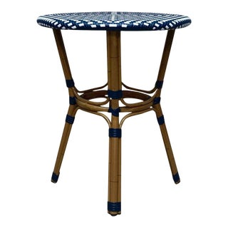 Hollywood Regency Wicker & Bentwood Accent Table For Sale