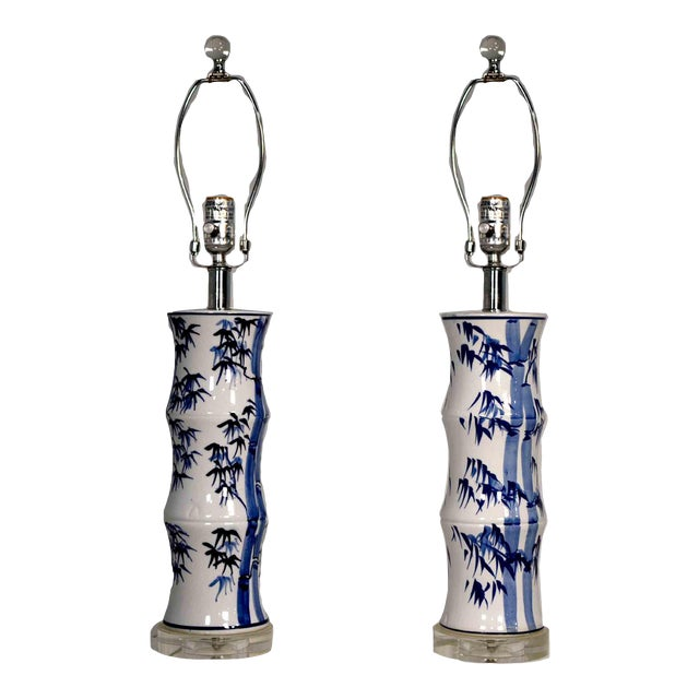 Contemporary Chinoiserie Blue and White Bamboo Motif Table Lamps - a Pair For Sale