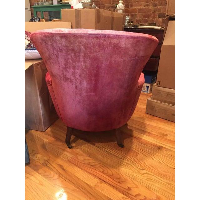 Victorian Red Velvet Slipper Chair - Image 5 of 6