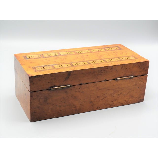 Edwardian Antique Birds Eye Maple Games Box & Contents For Sale - Image 3 of 9