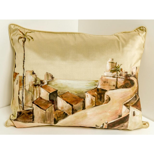 Contemporary Hand-Painted Custom Thai Silk Pillow For Sale - Image 3 of 3