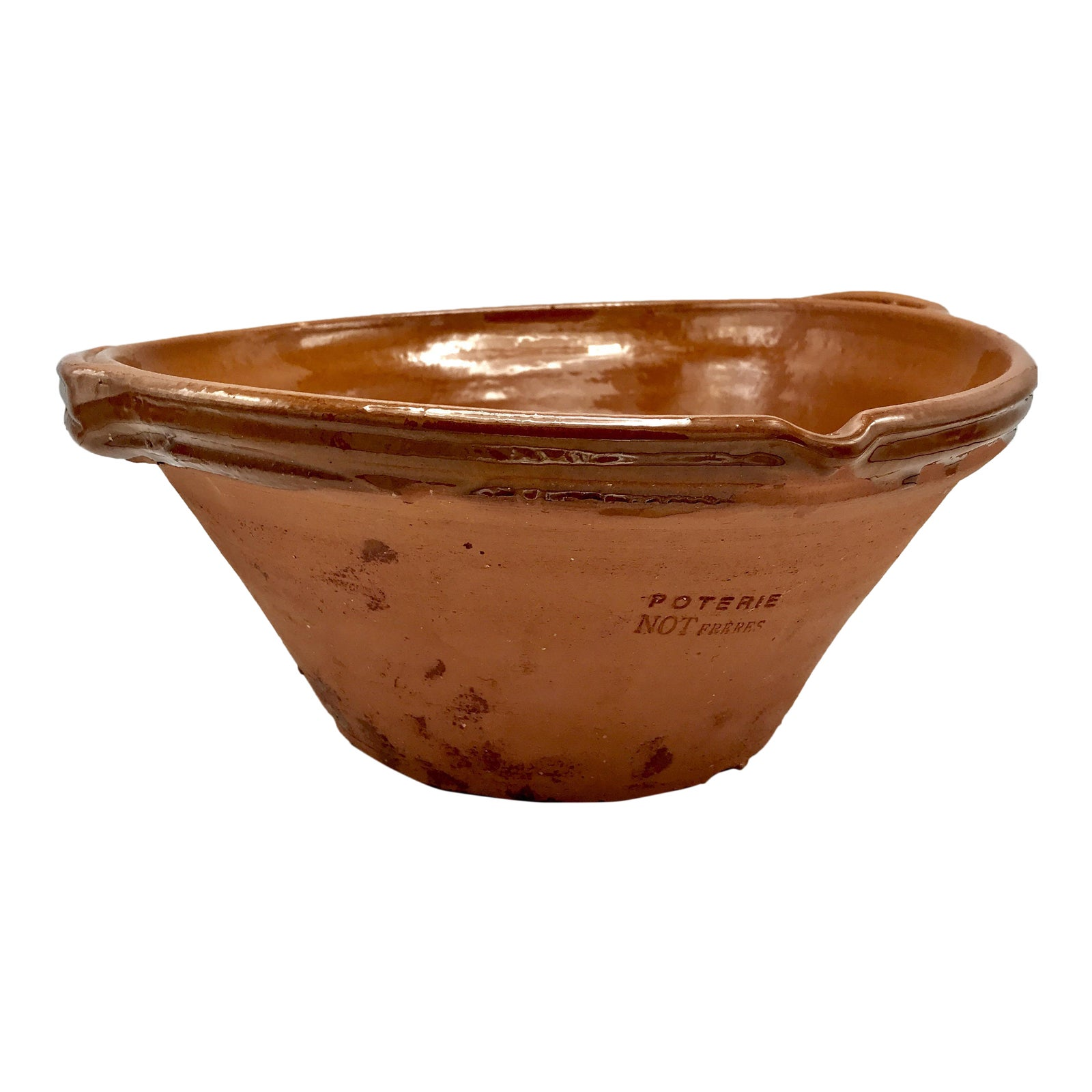 Large French Terra Cotta Confit Tian De Provence Cassoulet Pot