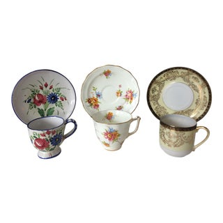 Mismatched Demitasse Cups & Saucers - Set of 6 For Sale